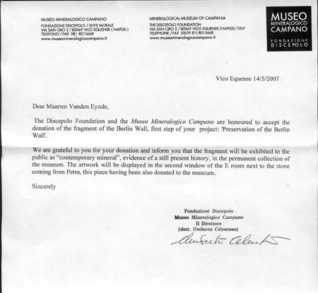 Maarten Vanden Eynde Berlin Wall Letter